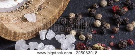 Pepper Grains, Sea Salt And Pepper Mill Background