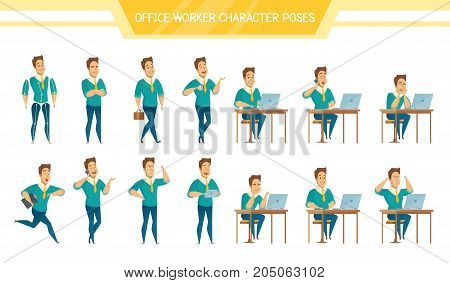 Male office worker poses sitting at computer standing with tablet having coffee brake cartoon characters set vector illustration