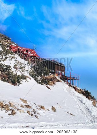 Cafe in winter mountains in bulgarian alpine ski resort Borovets