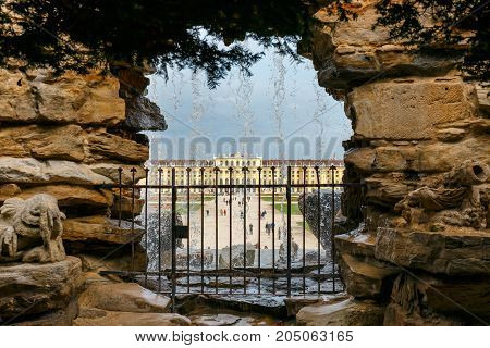 Vienna, Austria, October 14, 2016: Fountain In The Garden In Schonbrunn Palace In Vienna, Austria