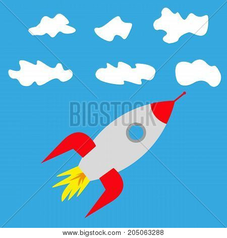 rocket in clouds in the sky vector illustration