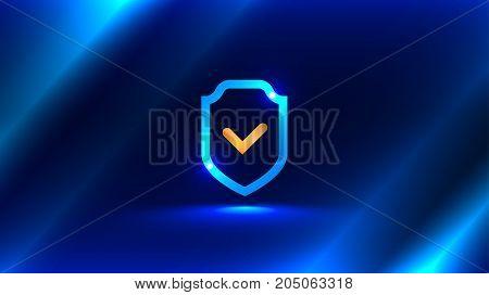 Icon symbol of a shield with a check mark