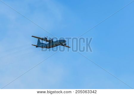 ROSTOV-ON-DON, RUSSIA - AUGUST, 2017: The Antonov An-12 Cub is a four-engined turboprop transport aircraft designed in the Soviet Union.