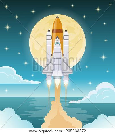 Space exploration flat composition with shuttle launch on blue background with glowing moon and stars vector illustration