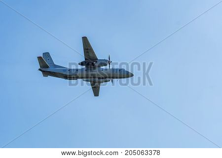 ROSTOV-ON-DON, RUSSIA - AUGUST, 2017: The Antonov An-26 Curl is a twin-engined turboprop civilian and military transport aircraft, designed and produced in the Soviet Union from 1969 to 1986.