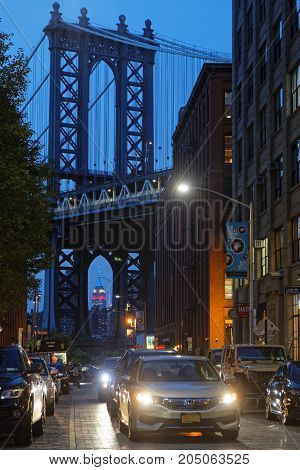 New York City, Usa, September 11, 2017 : The Manhattan Bridge And Brooklyn Streets At Night.  Connec