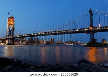 New York City, Usa, September 11, 2017 : The Manhattan Bridge At Blue Hour. It Is A Suspension Bridg
