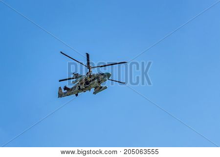 ROSTOV-ON-DON, RUSSIA - AUGUST, 2017: Kamov Ka-52 Alligator NATO code name: Hokum B attack helicopter of Russian air force. Often used as armed scout helicopter