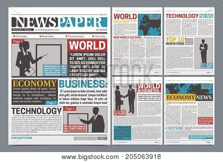 Newspaper online template design with world business economy and technology news headlines with silhouettes realistic vector illustration