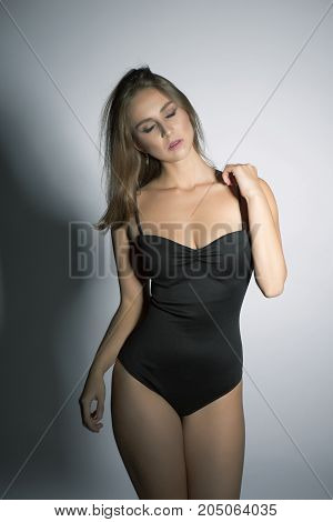 Oversized beautiful model in black sexy body