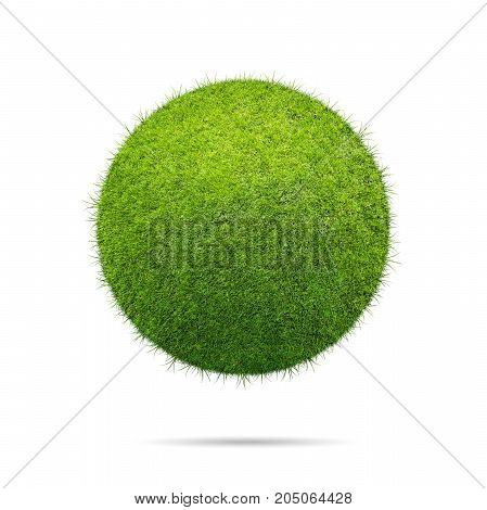 Illustration of grass ball over blue background