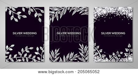 Banners set with silver floral patterns. Vector illustration. Flyer design layout templates for holiday cards, wedding cards, save the date. Glittering premium vip design. Silver Olive branches decor
