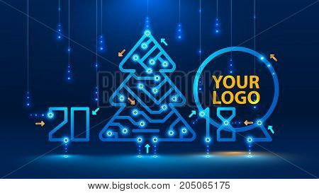 Template new year and Christmas cards in the style of new technologies. Christmas tree 2018 year on the printed circuit Board. Snowfall and snow flakes from the electronic pulses and signals. VECTOR