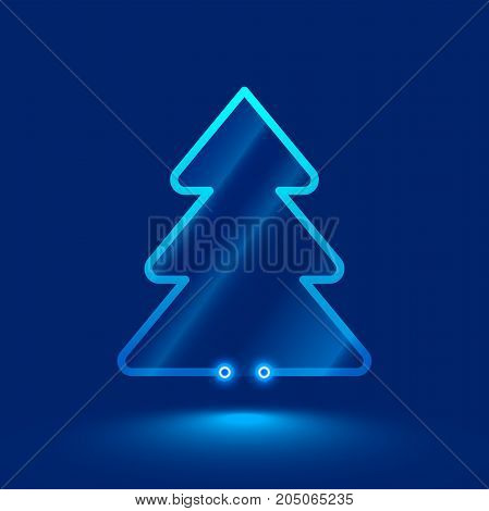 Simple christmas tree from neon and glass. technology electronics style. VECTOR