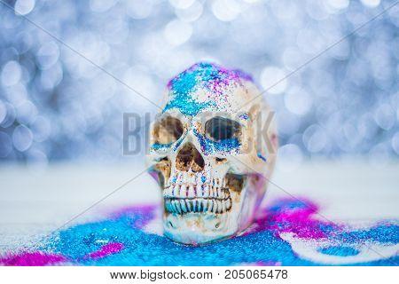 The Happy skull halloween party image closeup