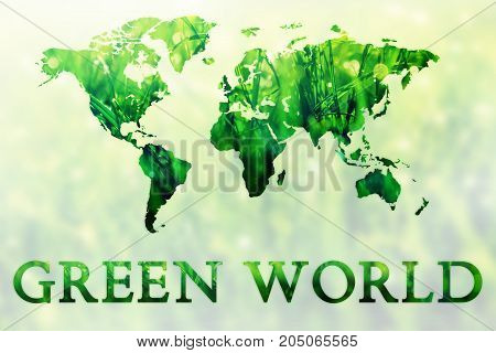 Illustration of double exposure of green grass and world map. Nature concept background