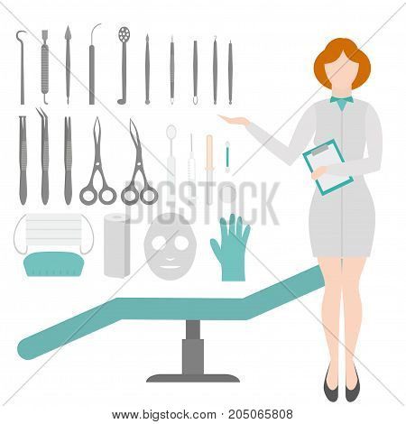 Beauty Salon. Dermatologist tools. Equipment loops, extractors and syringe . Dermatology and cosmetology concept. Cosmetic Instrument isolated