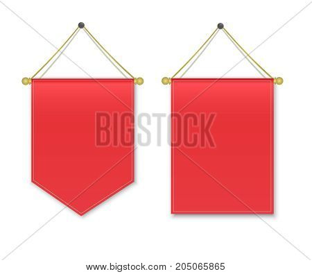 Empty 3D Pennant Blank. Red pennant hanging. Poster mockup