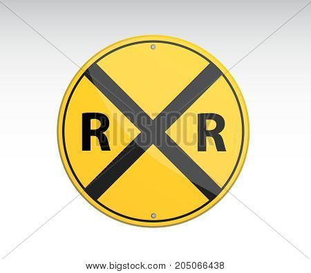 Railroad vector crossing traffic vector illustration. Symbol vector