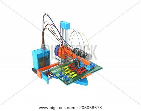 Concept Print Hand Prosthesis On 3D Printer 3D Rendering On White Background No Shadow