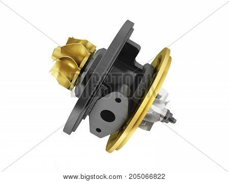 Concept Cartridge To Turbine On Auto Gold 3D Render On White Background No Shadow