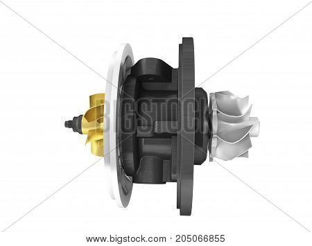 Concept Of Cartridge Turbine Front 3D Rendering On White Background No Shadow