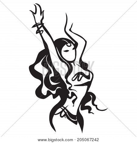 oriental bellydance, Arabian dancer, vector dancing woman Arabian oriental bellydance, vector dancing woman, tribal dance