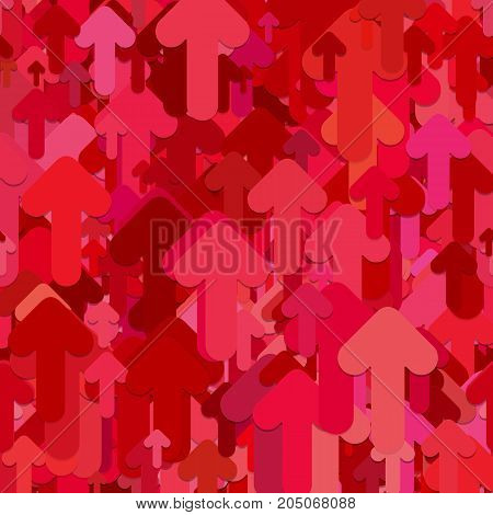 Seamless abstract geometrical arrow background pattern - vector design from red rounded upward arrows with shadow effect