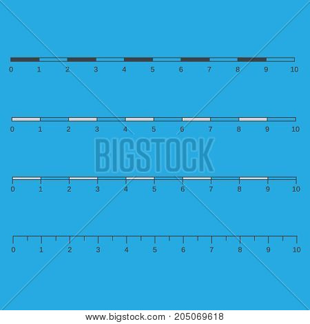 Metric Imperial And Decimal Inch Rulers Vector Set.