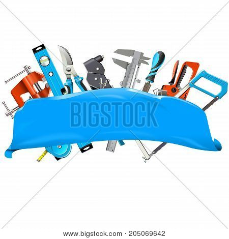Vector Blue Banner with Hand Tools isolated on white background