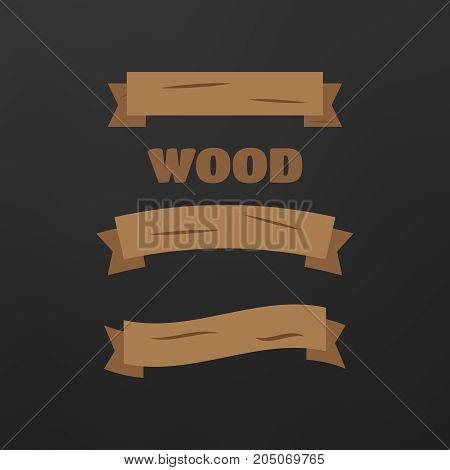 Comic Wooden Banners And Signs. Wood Plank Board
