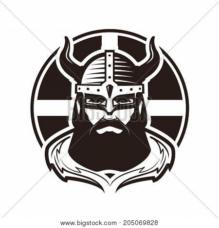 Viking logo or label. Warrior in armor. Vector illustration isolated on white background
