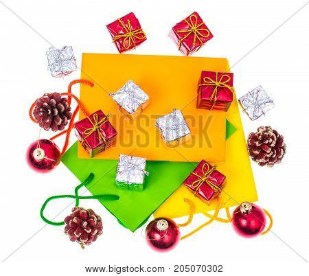 Bright packages and boxes for Christmas and New Year gifts