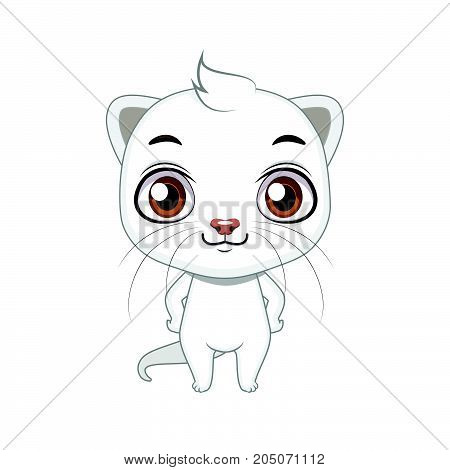 Cute Stylized Cartoon Ermine Illustration ( For Fun Educational Purposes, Illustrations Etc. )