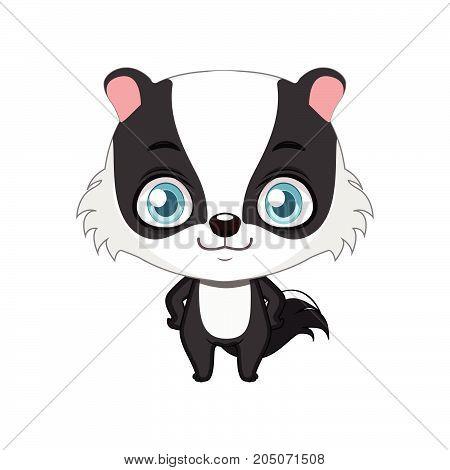 Cute Stylized Cartoon Badger Illustration ( For Fun Educational Purposes, Illustrations Etc. )