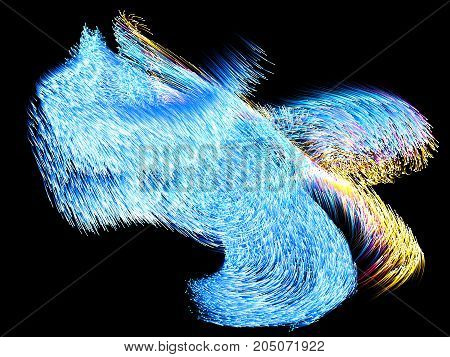 dance of energy particles into dark. blue and yellow particles. 3d illustration