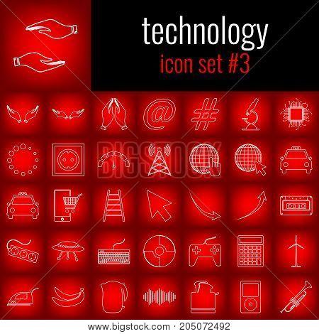 Technology. Icon set 3. White line icon on red gradient backgrpund.