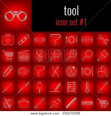 Tool. Icon set 1. White line icon on red gradient backgrpund.