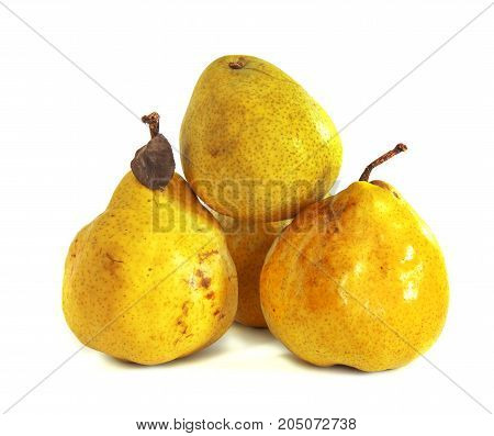 Ripe pears on a white background, isolate, pear on an isolated background