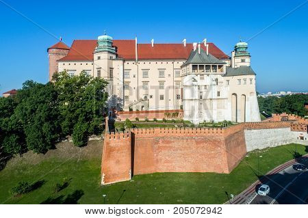 Historic royal Wawel castle in Krakow Poland Aerial view in the morning