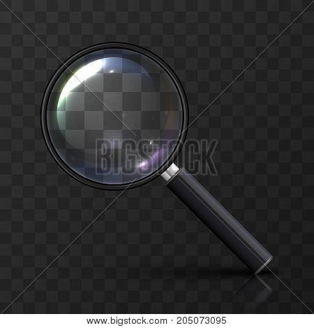 Magnifying glass art on a transparent background. Vector illustration