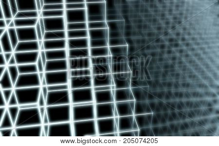3D illustration - Abstract shape pattern of cubes edges light