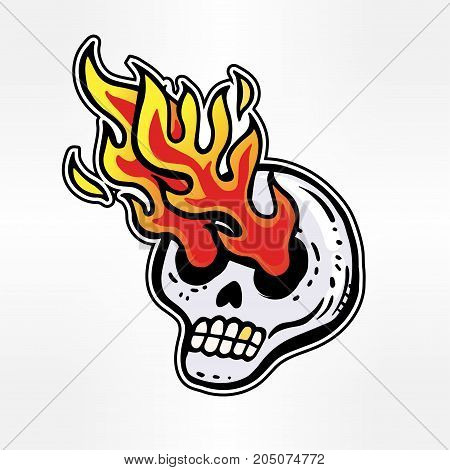 Crazy zombie fire rock theme with psychedelic skull with eyes of fire vector sticker in cartoon 90s party style.