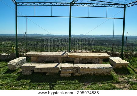 Stone table, and view on valley from Bribir fortress, Dalmatia