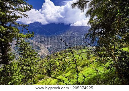 Aerial View Of Kullu Valley. Naggar, Himachal Pradesh. North India.