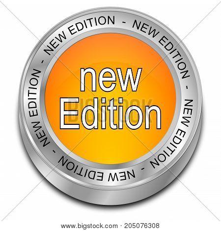 orange New Edition Button - 3D illustration