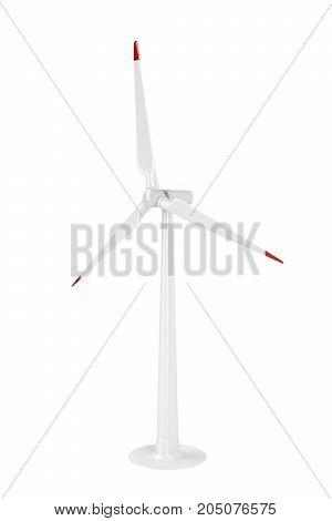 Wind turbine isolated on white background, 3D illustration