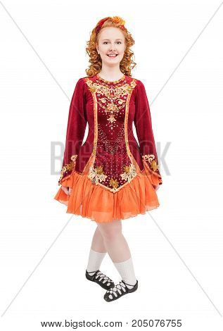 Beautiful Woman In Red Dress For Irish Dance Isolated