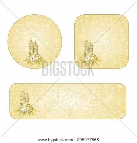 Banner and buttons Christmas decoration snowflakes candles and lucky symbols gold background vintage vector illustration editable hand draw
