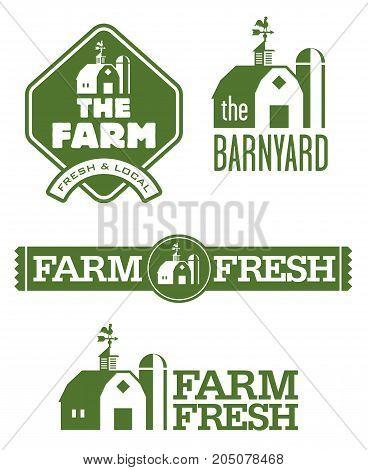 Farm and Barn Logos Set of four farm and barn logo designs for farm fresh local food.